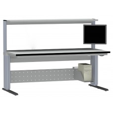 R0-2B.EC ZSO Primus Basic electronics worktable with instrument shelf | electrical height adjustable